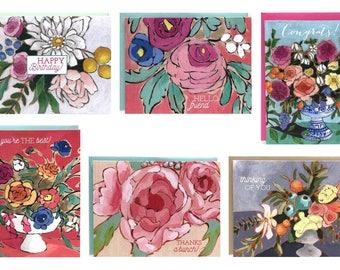 Mixed floral greeting card set boxed set of 6