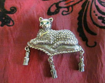 Vintage Cat on Pillow Brooch Pin Green Rhinestone Eyes Hanging Tassles Silvertone Metal Marcasite Costume Jewelry