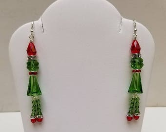 Swarovski Crystal Grinch Inspired Holiday earrings with Sterling Silver findings