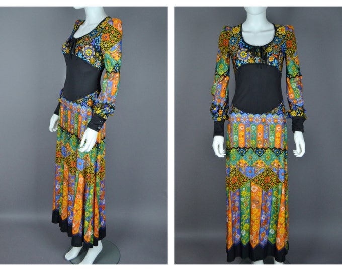 Beautiful 70's 1970's Vintage Graphic VIBRANT Floral MAxi Dress with Black Panel Puff SHoulders S