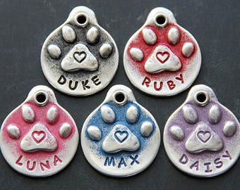 Custom Dog Tags Handmade Dog ID Tag Dog Mom Pug Paw Print Heart Dog Collar Identification Tag Hand Stamped