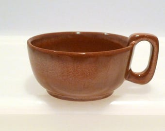 Frankoma 4SC Soup Bowl Plainsman Brown Glaze Vintage Cup with Handle Wide Mouth Soup or Coffee Mug Pottery Oklahoma 1970s Plattermatter