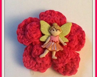 On Sale Fairy Hair Clip Pink Handmade Crochet