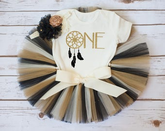 Black and gold first birthday 'Clara Gold' black and gold tutu outfit, dream catcher birthday,  boho tutu, boho first birthday outfit, one