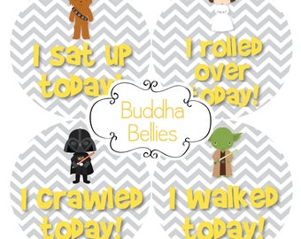 BUNDLE PACK 16 Star Wars Baby Monthly and Milestone Stickers Gender Neutral Month Baby Stickers Chewbacca / R2D2 / Space Wars / Darth Vader