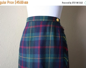 Clearance Sale Vintage Plaid Wool Wrap Style Pencil Skirt