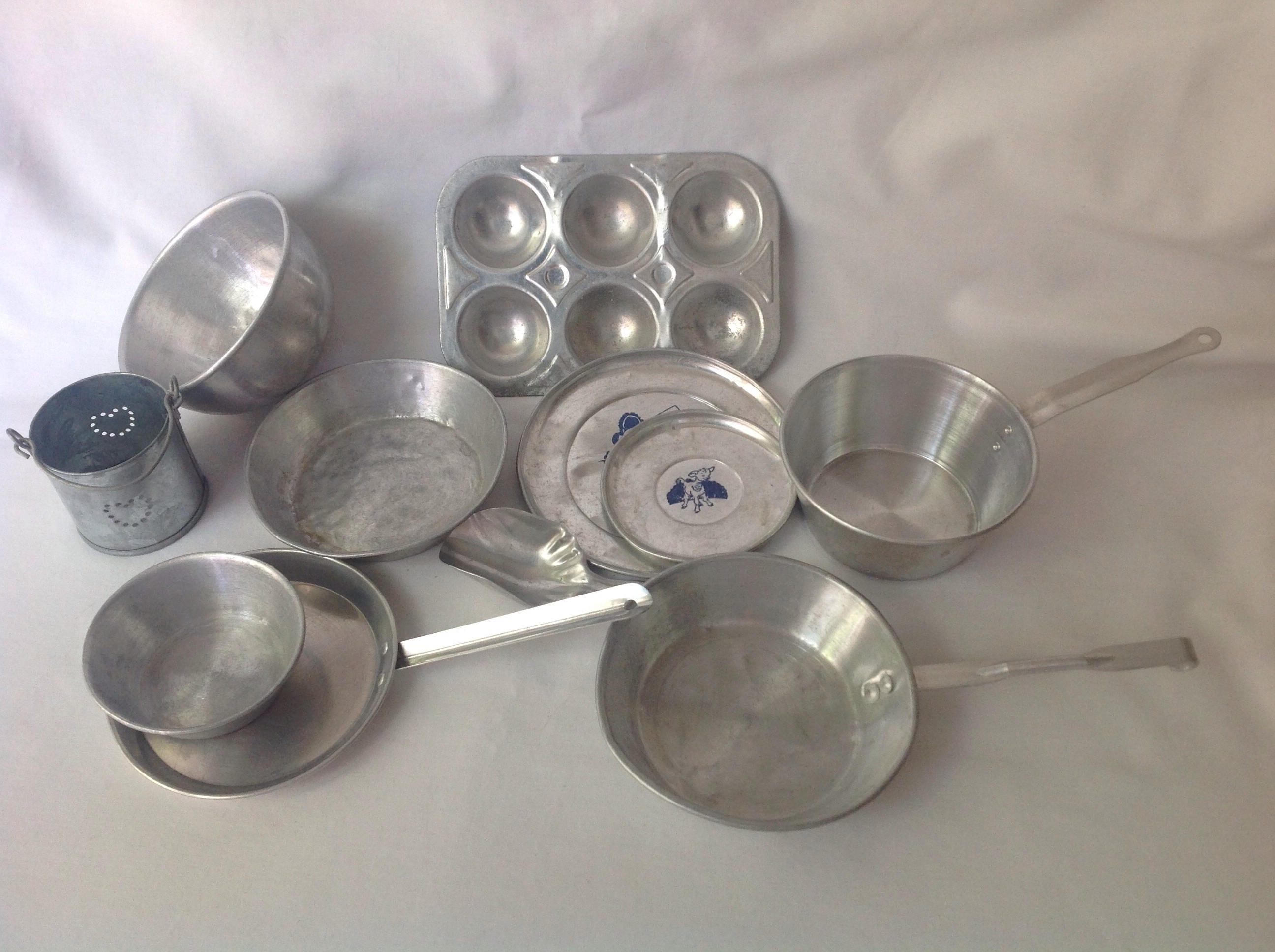 Toy Pots And Pans : Childrens vintage aluminum pots and pans toy