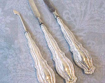 Beautiful Art Nouveau Era Sterling Silver 3 Piece Manicure Set