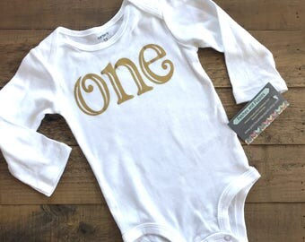 Ready to ship First Birthday Girls Shirt one 1 gold fairytale modern gift photo prop