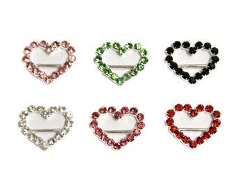 Rhinestone Sliders - HEART - Set of 5 - Wedding Invitations - DIY Craft Supplies - DIY Rhinestone Headband - Headband Supplies - Valentines
