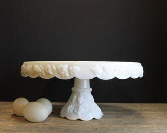 Vintage Westmoreland White Milk Glass Cake Stand // Paneled Grape Vine Pattern