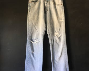 Vintage Levis 501 distressed raw hem denim jeans 30X32