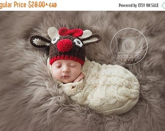 Happy Birthday sale Reindeer crochet hat for baby