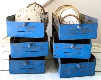 Reserved for Tina-Vintage Metal Box Drawer Blue Industrial Storage Midcentury