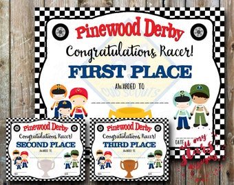 Cub Scout Pinewood Derby Place Certificates - DIY Printables   Includes Over 50 Award Variations   1st through 6th Den Awards  Overall Pack