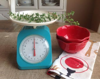 Free Shipping 1950s Blue Kitchen Scale White Face with Red Pointer Plastic Exterior with Metal Box Mechanism