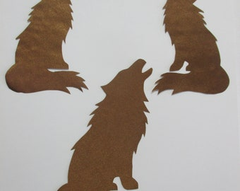 3 wolf set appliques, native american style
