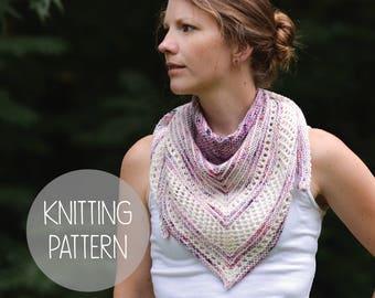 KNITTING PATTERN lace eyelet kerchief summer scarf - Amelia Kerchief