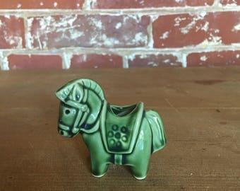 Vintage Green Horse Toothpick Holder