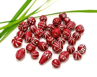 SUPPLY: 25 Mixed Rustic Clay Beads - Hand Made - SKU 9-D1-00008905-OS-96