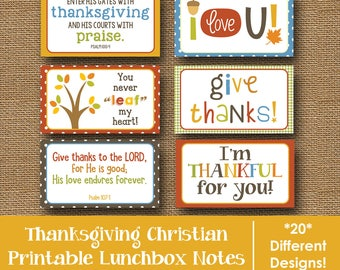 Thanksgiving Lunch Box Notes | Kids Printable Lunch Notes | November Lunch Box Cards | Christian, Bible Verse Lunchbox Notes | DIY PRINTABLE