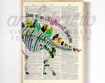 Dare to be Different Darling Rainbow Dinosaur Skeleton Bright Unique Art Print on an Antique Unframed Up-cycled Book page