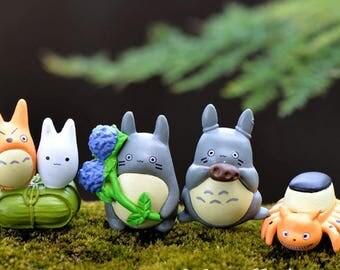 Set of 4 PCs studio Ghibli Totoro no face spirited away Terrarium Garden Miniature doll house miniature cake topper