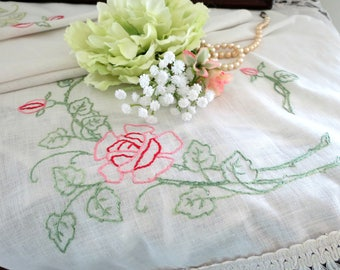 Vintage Table Runner or Dresser Scarf, Hand Embroidered with Red and Pink Roses, Fringed Edges,  Vintage Linens by TheSweetBasilShoppe