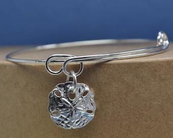 sand dollar adjustable silver charm bracelet,expandable bracelet,sea life bracelet,charm bracelet,beach expandable bracelet