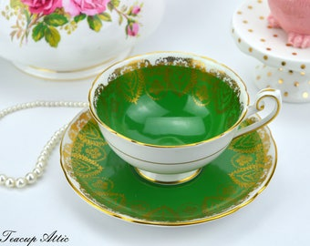 Shelley Green And Gold Teacup And Saucer Set, Wedding Gift, Cabinet Teacup, ca. 1945-1966
