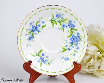 Royal Albert Flowers of the Month July Replacement Saucer Only, English Bone China Saucer, Forget-Me-Not Flowers,  ca. 1970