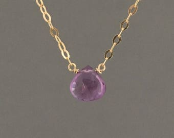 Tiny Amethyst Teardrop Gold Necklace Also Available in Rose Gold and Sterling Silver