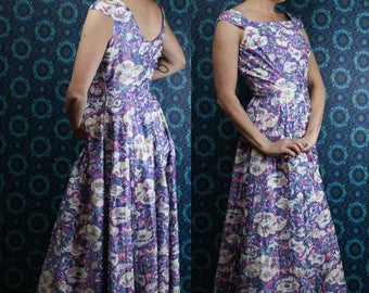 40's 50's Floral Maxi Dress, Fitted Bodice Full Skirt Garden Dress, Size Small