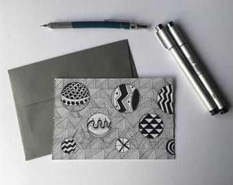 Outer Space- Black and White Stationery, Blank Flat Cards, Any Occasion, Stationery Set