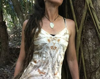 Natural Plant Dyed Pure Soft Satin Silk Long Camisole Size 12Aus