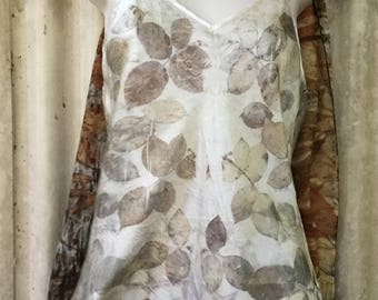 Natural Dyed with Rose leaves Pure Silk Long length Camisole Top Size XL