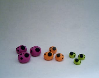 Mini Ladybugs - Set of 9 - Polymer Clay - Halloween - Figurines