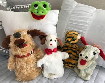 Five Vintage Hand Puppets
