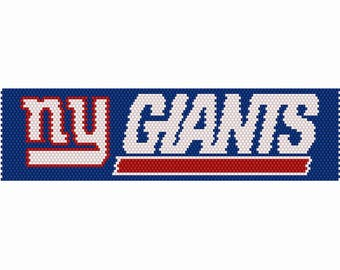 NY Giants Logo Peyote Bead Pattern, Bracelet Pattern, Bookmark Pattern, Seed Beading Pattern Delica Size 11 Beads - PDF Instant Download
