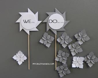 2 anniversary cake picks | wedding cake toppers || origami cake picks | pinwheel cake picks -WE still DO, white & gray dots
