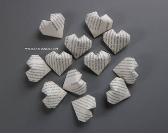 30 origami balloon hearts | book heart favors || book theme wedding || gifts for book lovers | origami gifts -book page