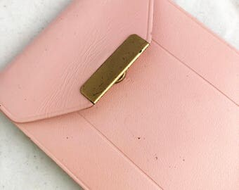Wallet- Vintage pink leather cowhide credit card photo holder by Amity