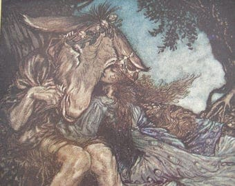 1920 Arthur Rackham,Midsummer Night's Dream,tipped-in book plate,print. sleep thou,and I will wind thee in my arms