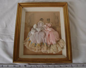 Victorian French, Mode, Fashion gravure print,ladies, hand-decorated with fabrics in gilt shadow box .