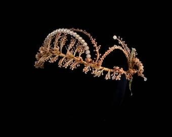 Antique French Wax Flowers Bridal Crown, Orange Blossom & Clear Glass Scallop Tiara, Romantic Fairytale Bride, Pre Raphaelite Wedding Tiara
