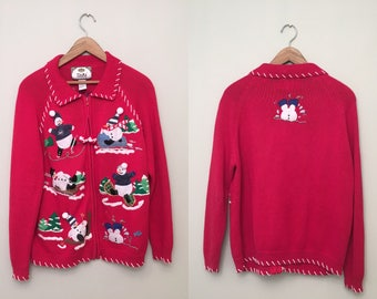 Vintage Ugly Red Snowman Sweater Cardigan with front zip closure and pom-poms - Women's Small- ships same day!!!