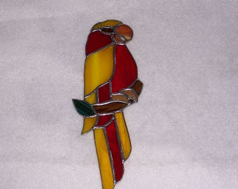 Handcrafted Stained Glass Parrot...Beautiful Handmade Window Decor..