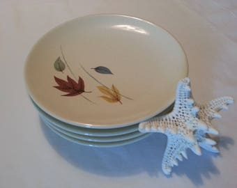 Four Mid-Century Franciscan China Autumn Leaves Pattern Side Plates