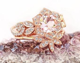 Natural Morganite & Diamonds Bridal Rings Set; Rose Gold Flower Ring + Leaves Ring Matching Side Band, Pink Morganite Ring Diamond Pave Band