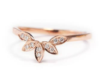 Unique Gold Ring, Leaves Side Band, 14K Rose Gold Ring, Gold Ring For Women